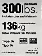 LDR300 Replacement Safety Label - 300lb Duty Rating