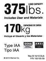 LDR375 Replacement Safety Label - 375lb Duty Rating